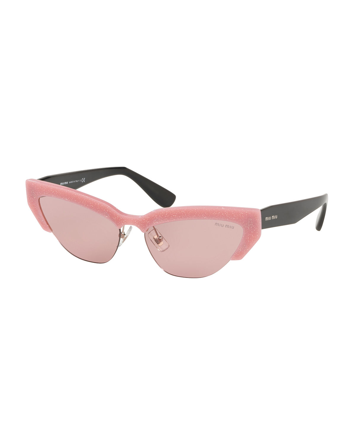 65b3f3b732 Miu Miu Semi-Rimless Cat-Eye Sunglasses In Glitter Alabaster   Light Pink