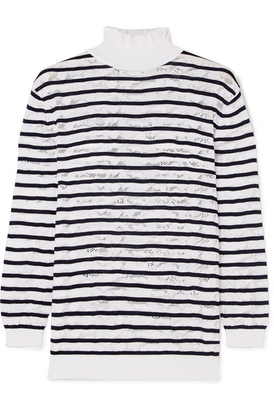 ChloÉ Striped Cotton-blend Lace Turtleneck Sweater In White