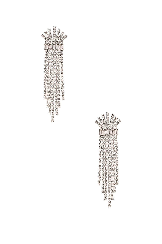 Elizabeth Cole Crystal Fringe Earring In Silver