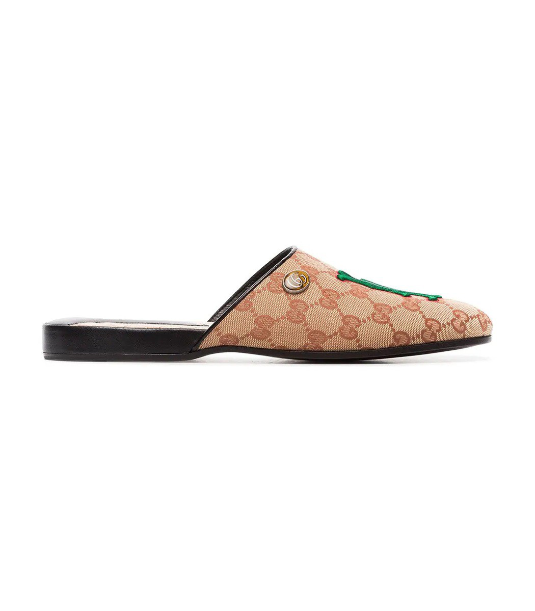 5342d625b1452 Gucci Flamel Embroidered Canvas Slippers In Neutrals