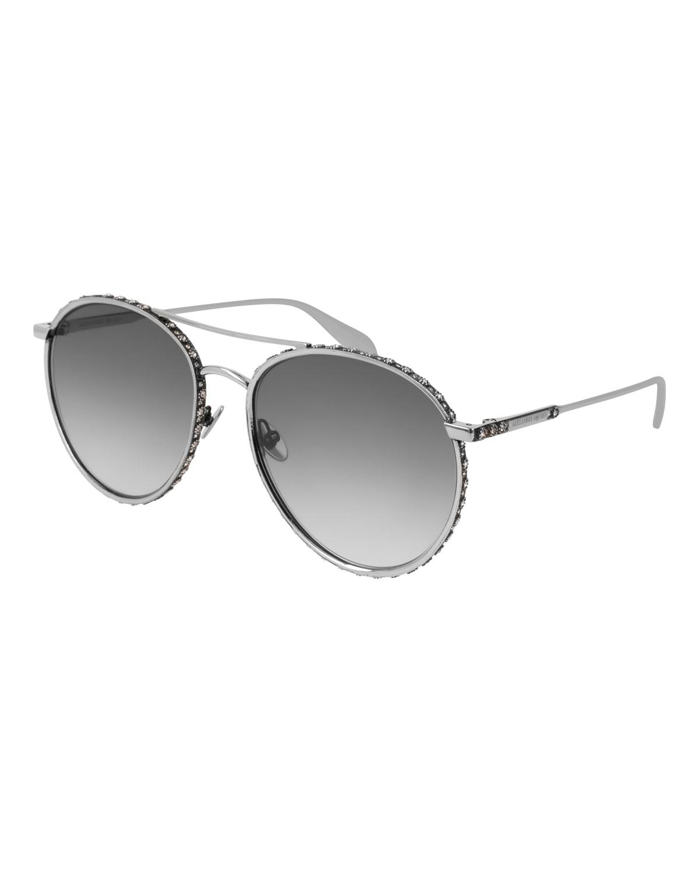 26b441e45acd Alexander Mcqueen 58Mm Swarovski Crystal Trim Round Aviator Sunglasses In  Silver