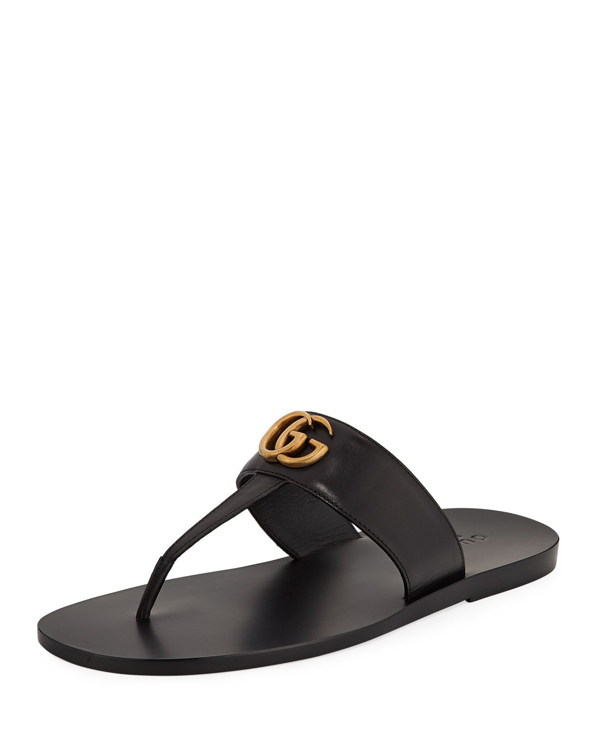 d09230414c3 Gucci Marmont Double G Leather Thong Sandal In Black