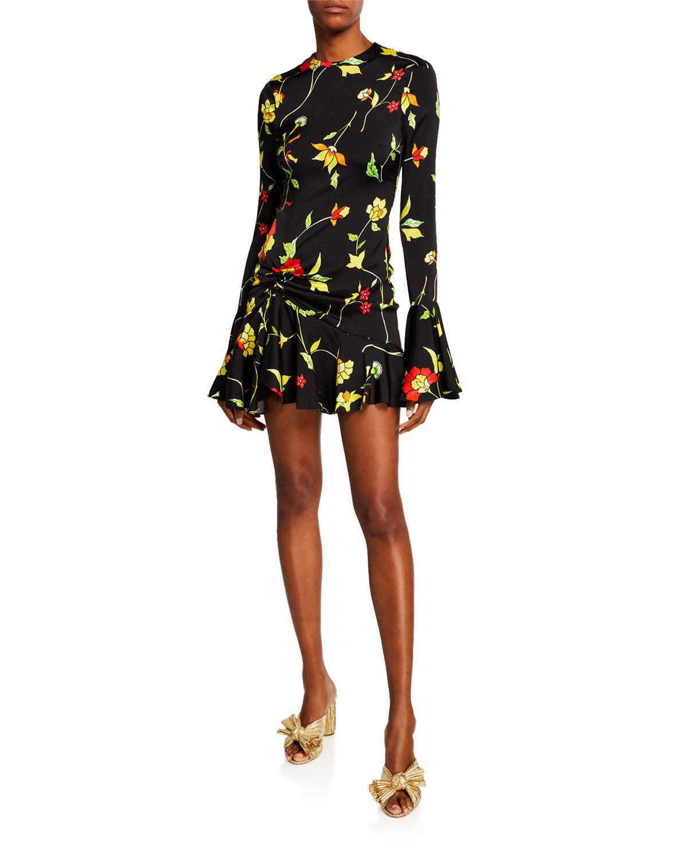 9270e71757b Caroline Constas Monique Crewneck Long-Sleeve Floral-Print Mini Dress In  Black Multi