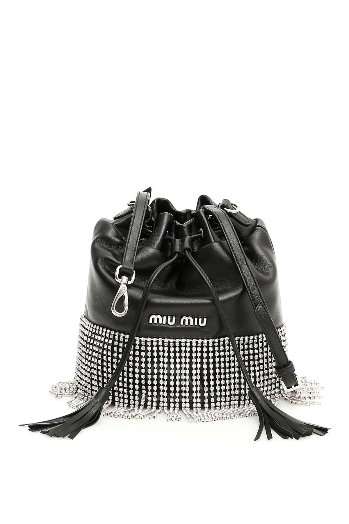 bac34893011 Miu Miu London Night Crystal-Embellished Leather Bucket Bag In Black ...