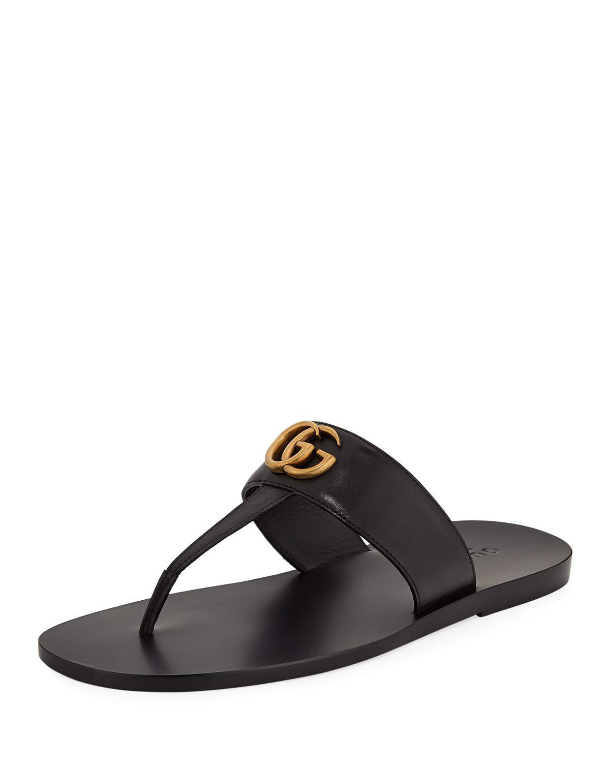 adb93be0d70e Gucci Marmont Double G Leather Thong Sandal In Black