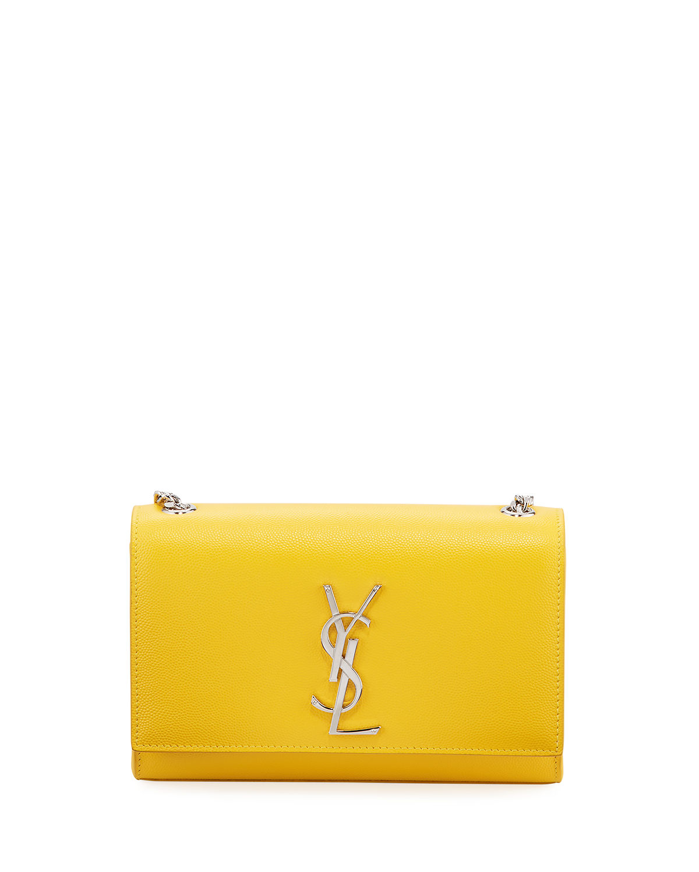 8120db2fdbab Saint Laurent Kate Monogram Ysl Small Grain Leather Crossbody Bag In Yellow