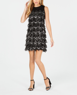Julia Jordan Sequin Fringe Sheath Dress In Black/silver