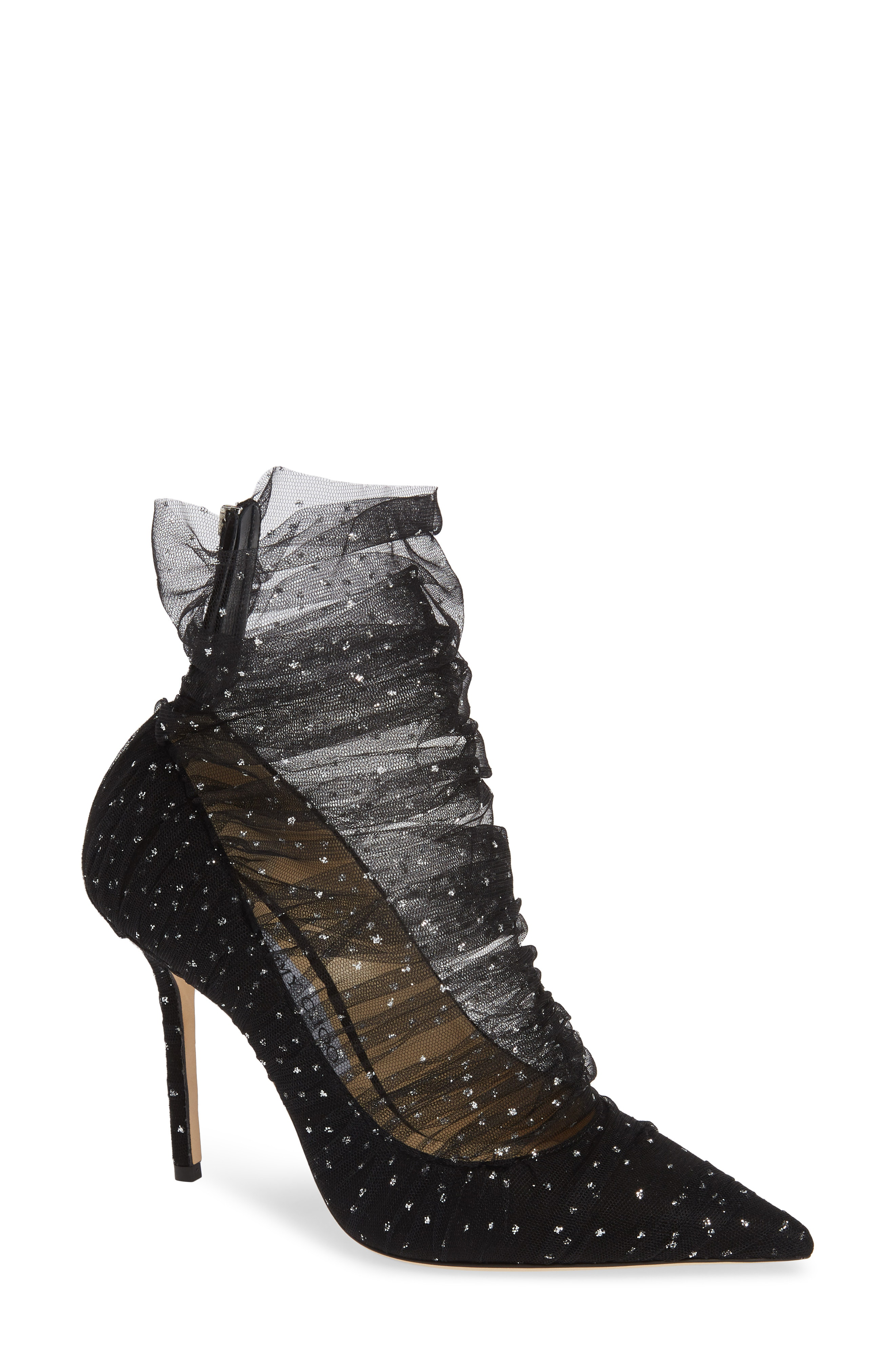 c8d7e00557fe Jimmy Choo Lavish 100 Black Suede Pump With Black And Silver Glitter Tulle  Overlay