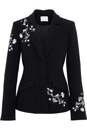 Cinq À Sept Cinq A Sept Floral Embroidered Fitted Jacket - Black