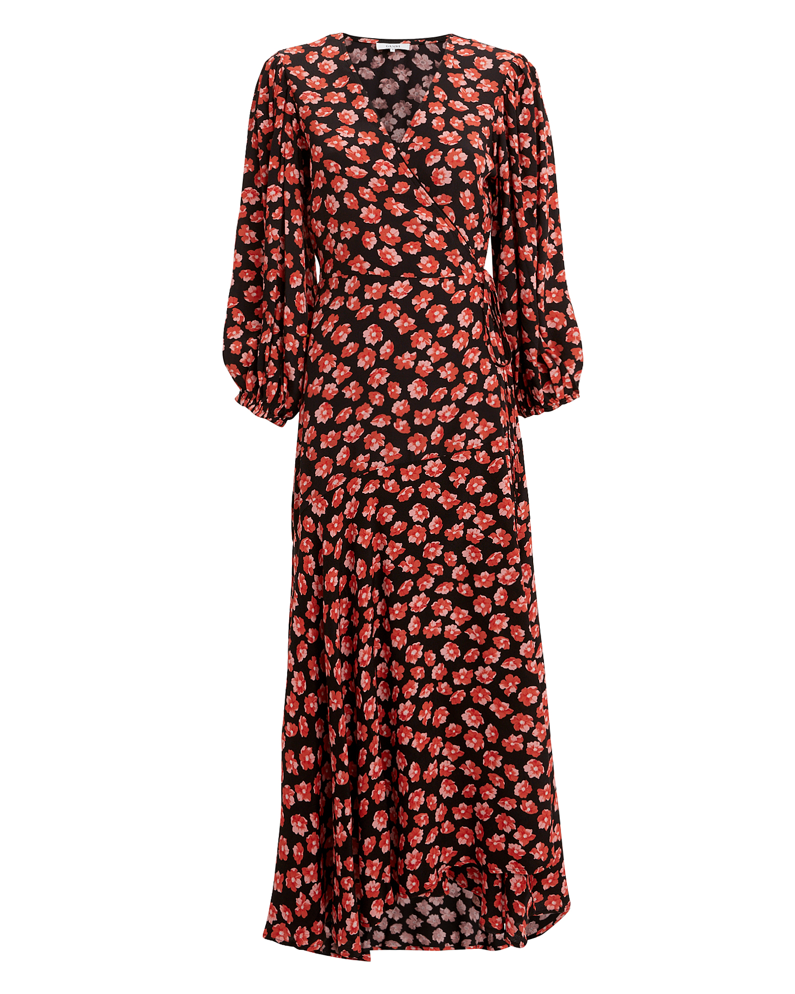 e2214bd9 Ganni Lindale Floral Printed Crepe Midi Dress In Red | ModeSens