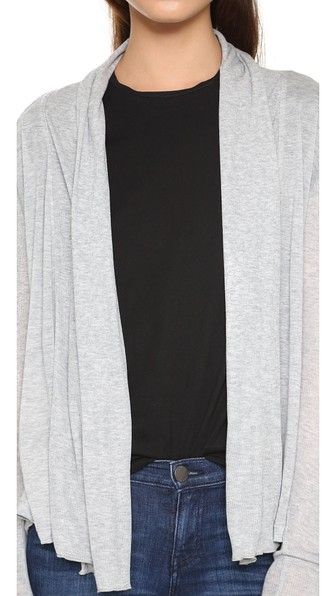 Three Dots Long Sleeve Open Cardigan In Granite