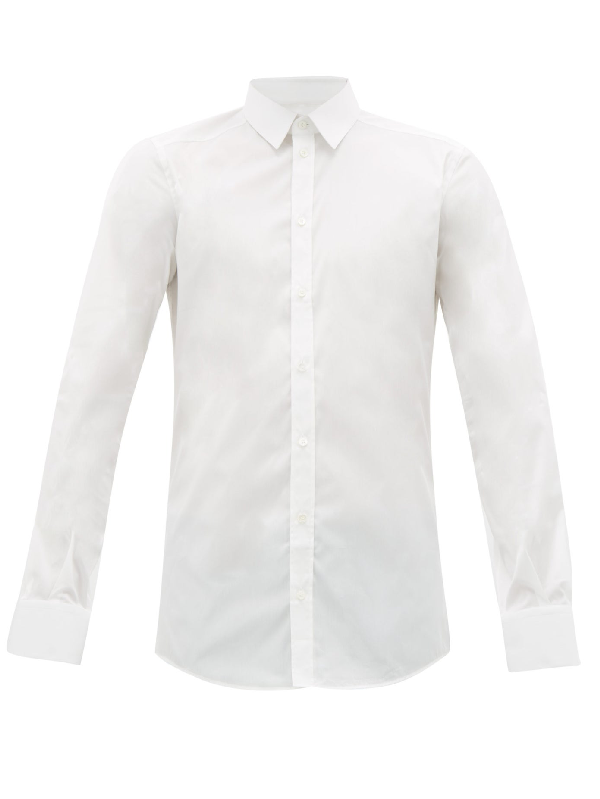 Dolce & Gabbana Gold Fit Cotton-blend Stretch Shirt In White