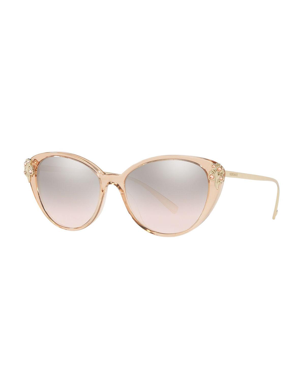 d52dceffc8 Versace 55Mm Embellished Cat Eye Sunglasses - Beige  Silver Gradient ...