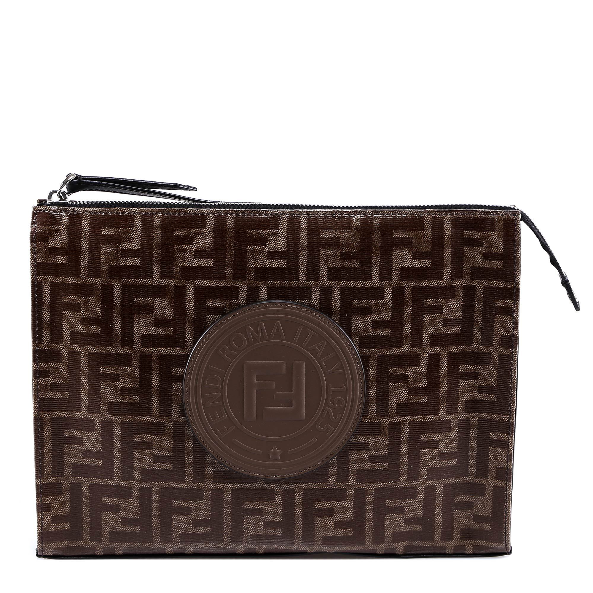 e51dde9f0b Fendi Logo Patch Clutch Bag In Brown | ModeSens