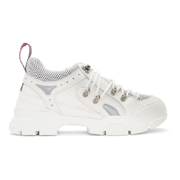 Gucci Flashtrek Logo-Embossed Leather, Suede And Mesh Sneakers In 9087 Bianco