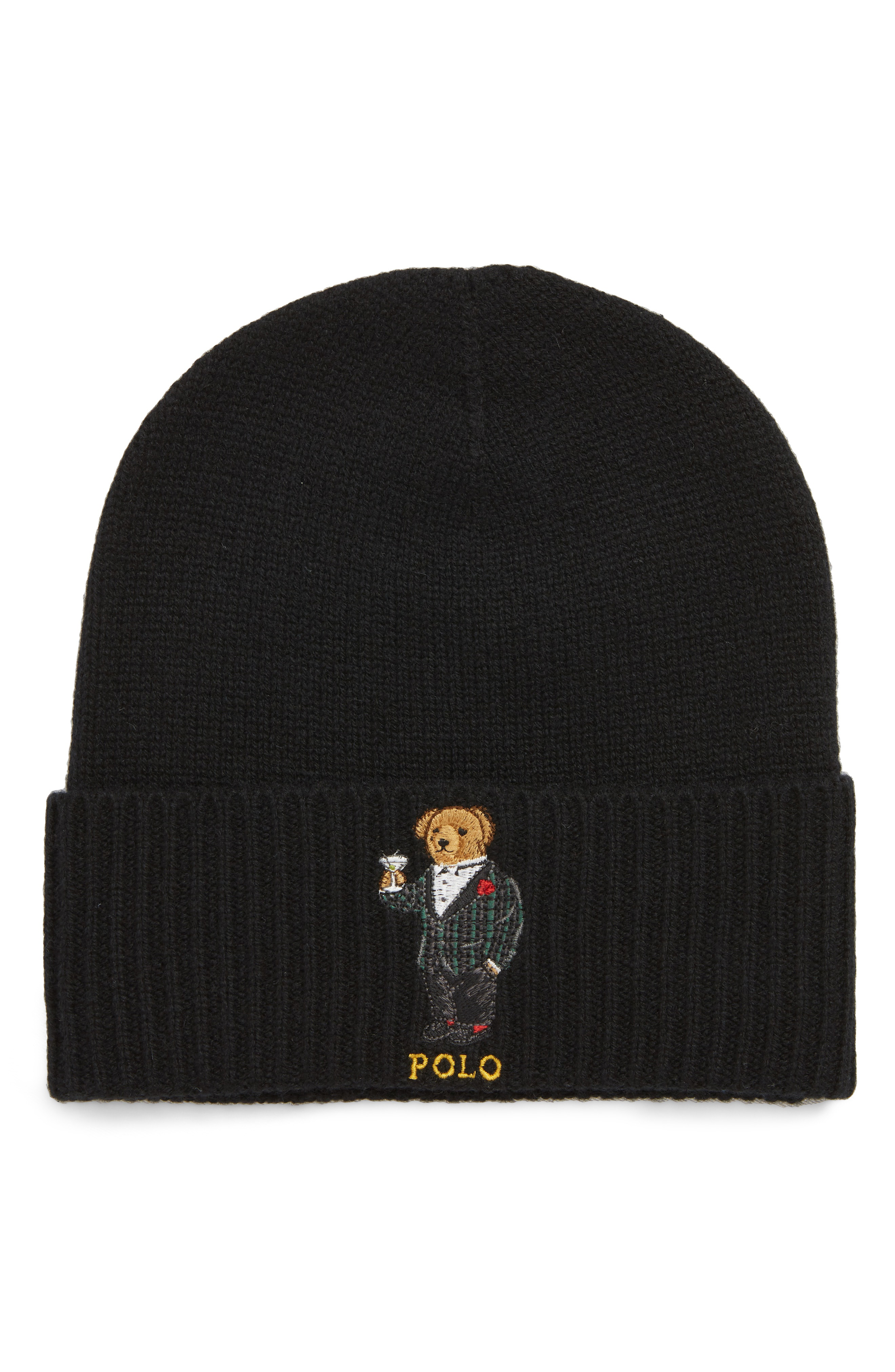 06484c75b47 Polo Ralph Lauren Tartan Martini Bear Wool   Cashmere Beanie - Black ...