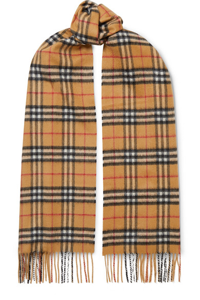 Burberry Cashmere Reversible Vintage Check Pattern Scarf, Blue In Beige