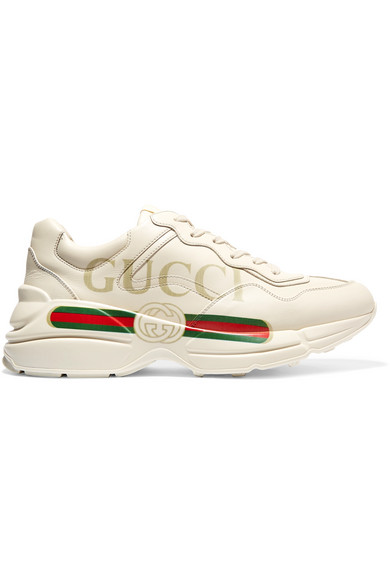 Gucci Low-top Sneakers Rhyton  Calfskin Logo  Creamy White