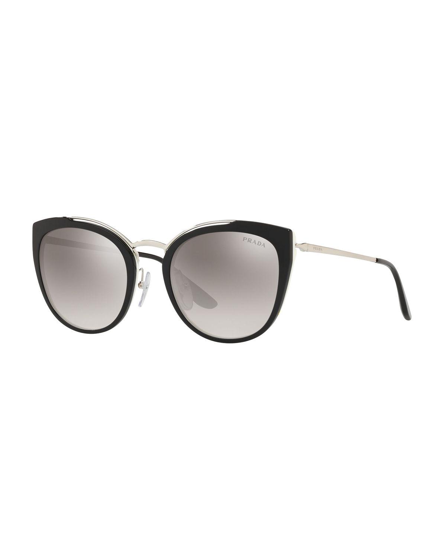 d2c146fb38625 Prada Acetate   Metal Mirrored Cat-Eye Sunglasses In Silver Grey ...