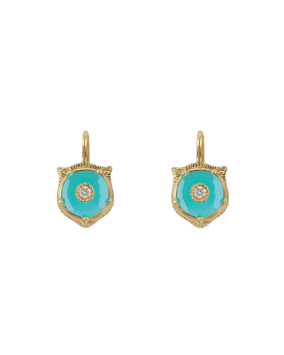 96b9772ab Gucci Le Marche Des Merveilles 18K Yellow Gold Feline Head Turquoise &  Diamond Drop Earrings In