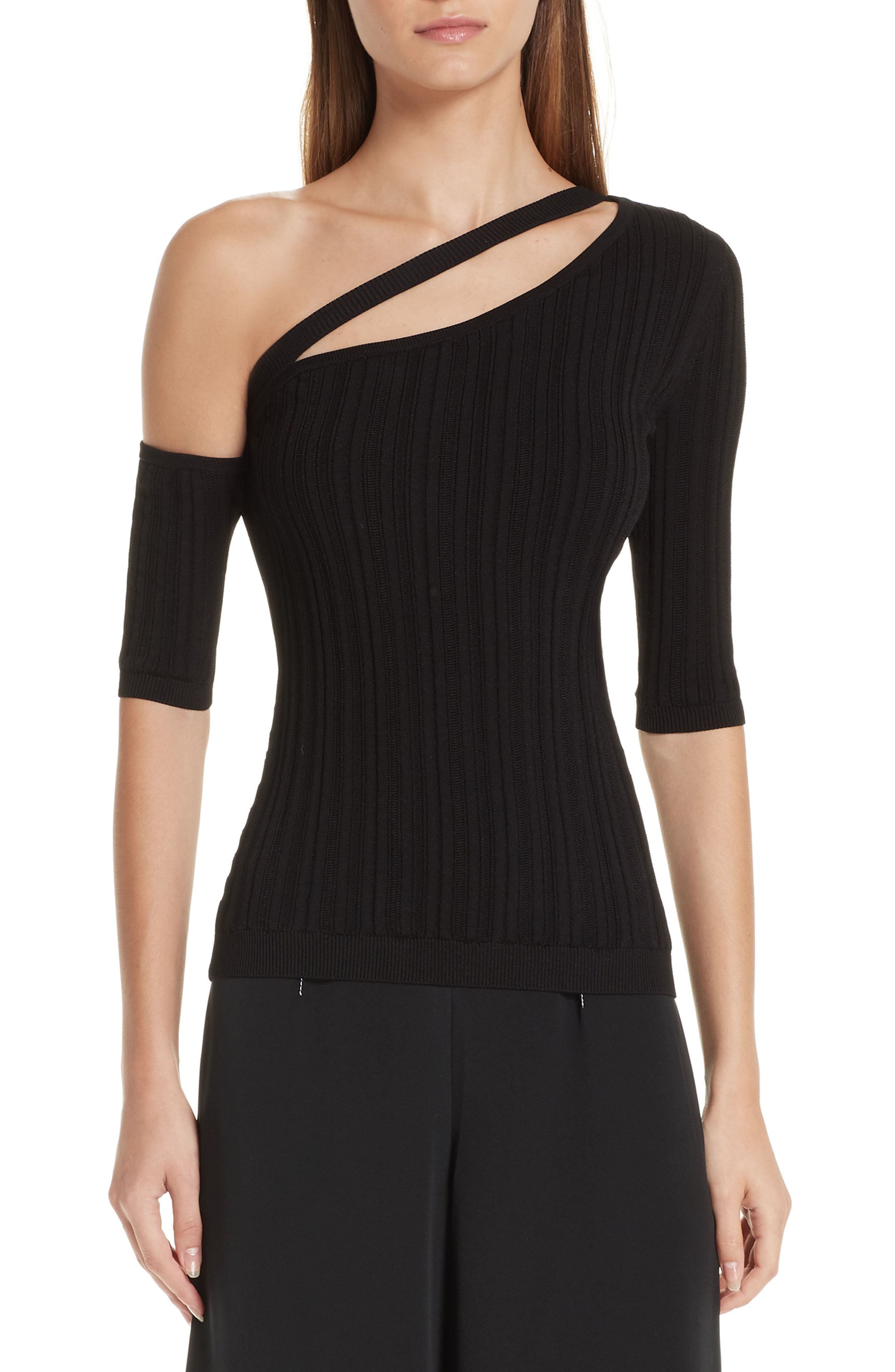 da47d4ed33c58 Cushnie One-Shoulder Short-Sleeve Ribbed Knit Top