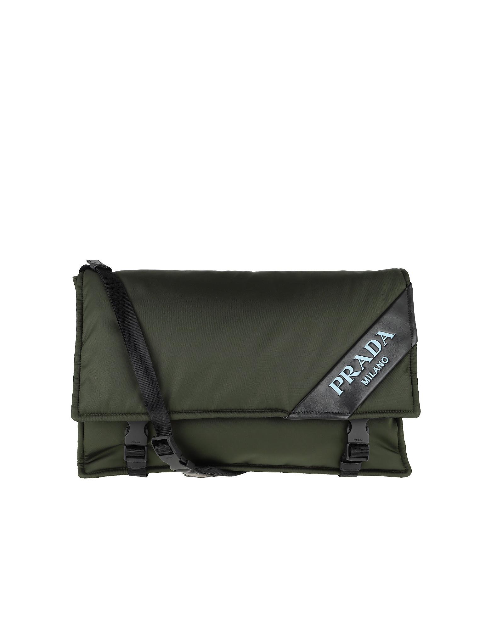 b5f0c7f8babe Prada Logo Crossbody Bag Large Nylon Militare In Green   ModeSens