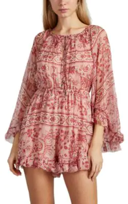 355653286f Zimmermann Castile Ruffled Floral-Print Silk-Georgette Playsuit In Antique  Rose