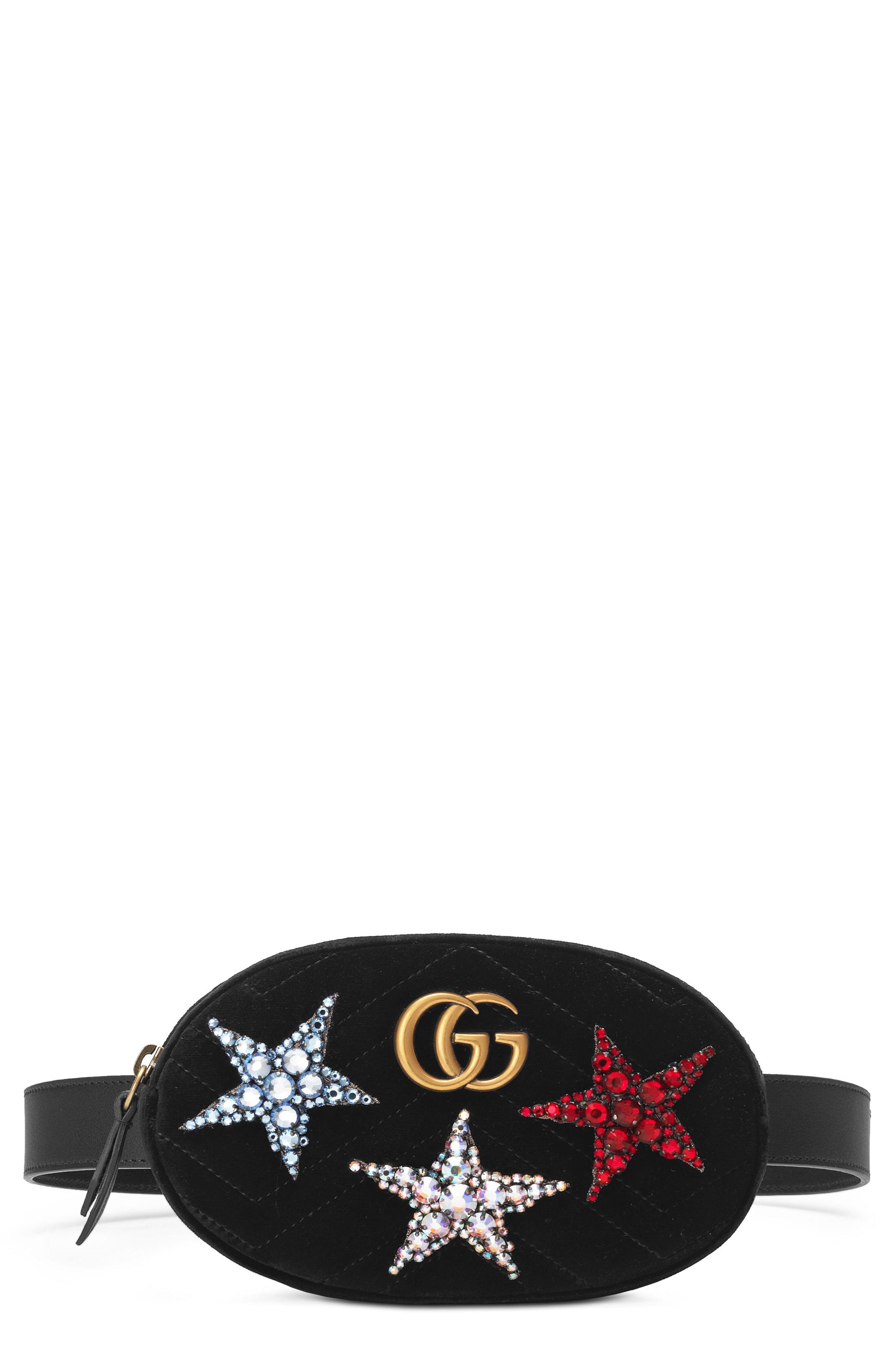 b18510cf351 Gucci Marmont 2.0 Crystal Stars Velvet Belt Bag - Black