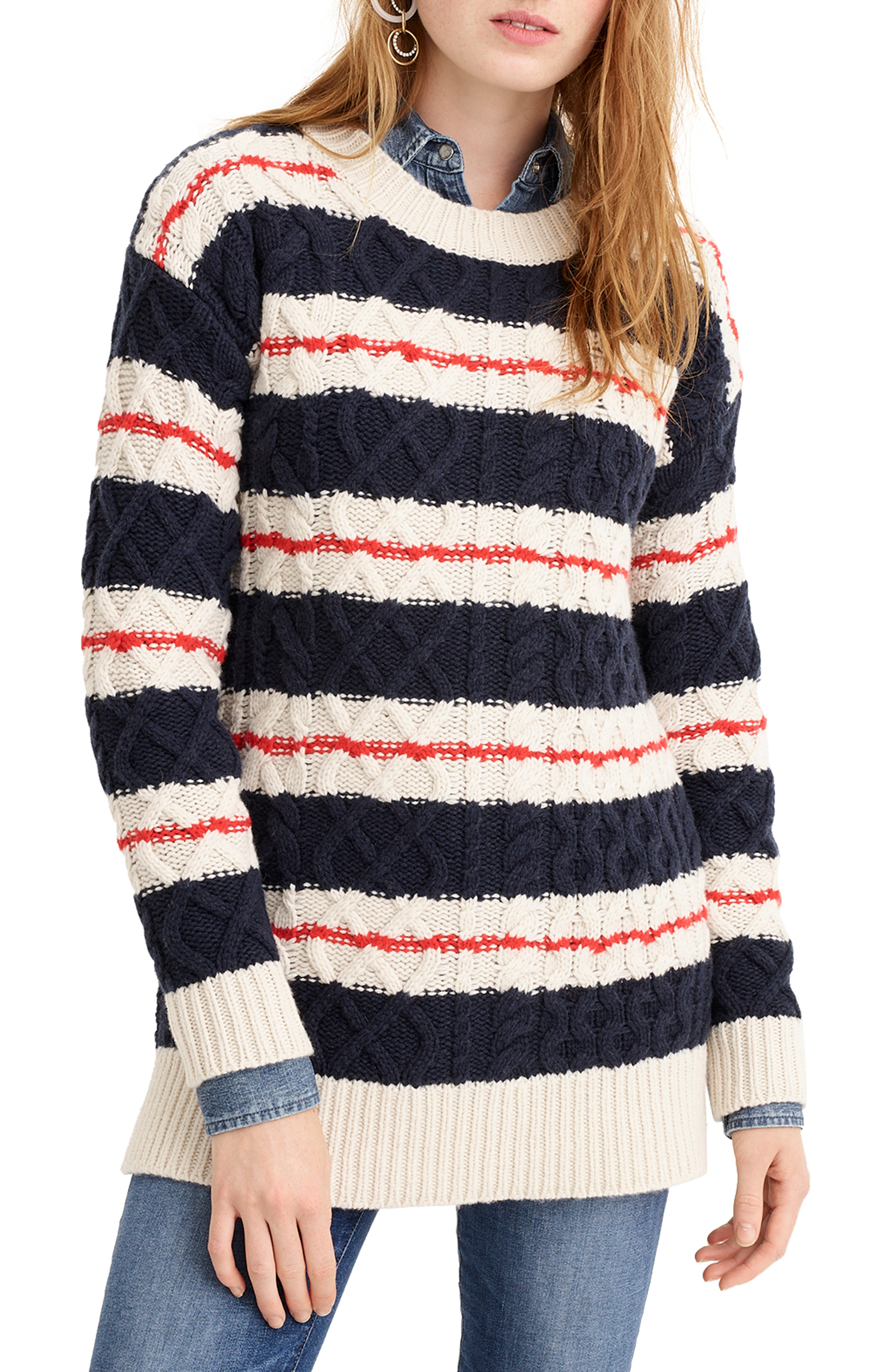f3f6a23b7 J.Crew Gabby Striped Cable-Knit Merino Wool-Blend Sweater In Navy ...