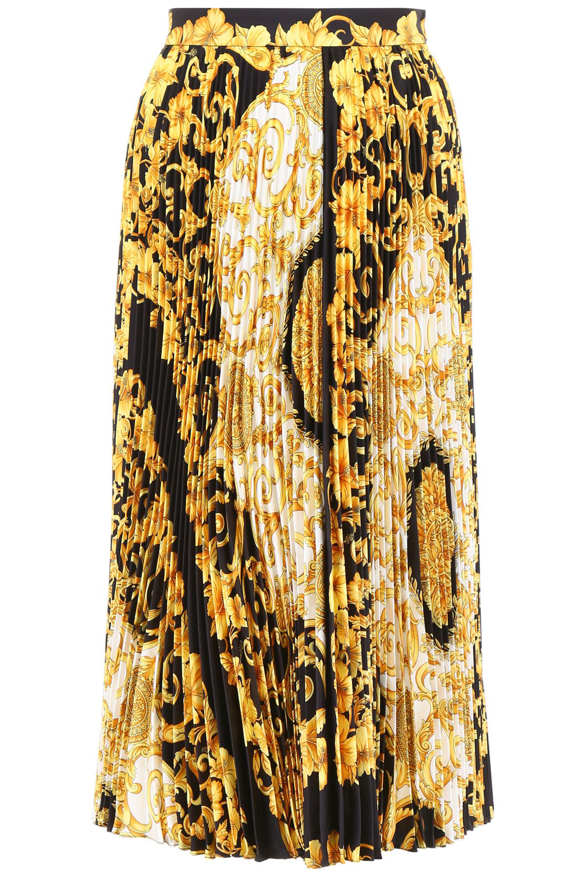 3bd4a8674 Versace Gold Hibiscus Print Pleated Midi Skirt In Black | ModeSens