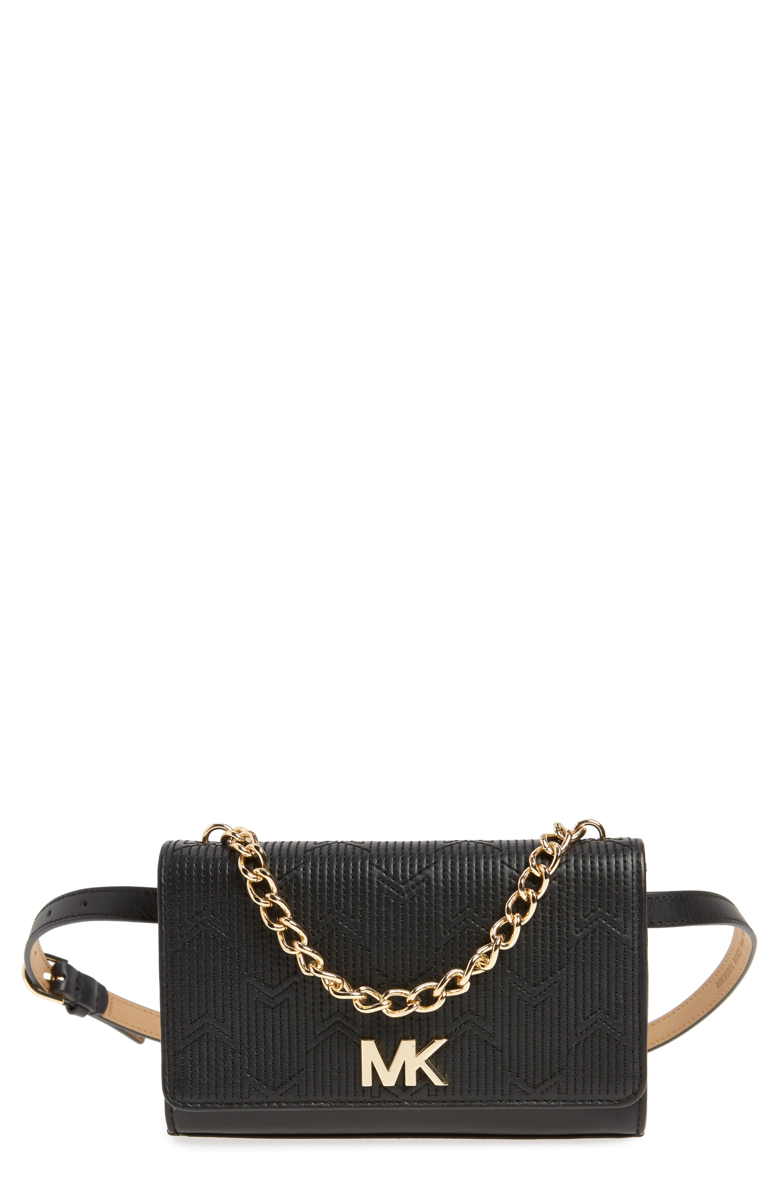 21abce39aa94e6 Michael Michael Kors Deco M Quilted Leather Belt Bag - Black | ModeSens