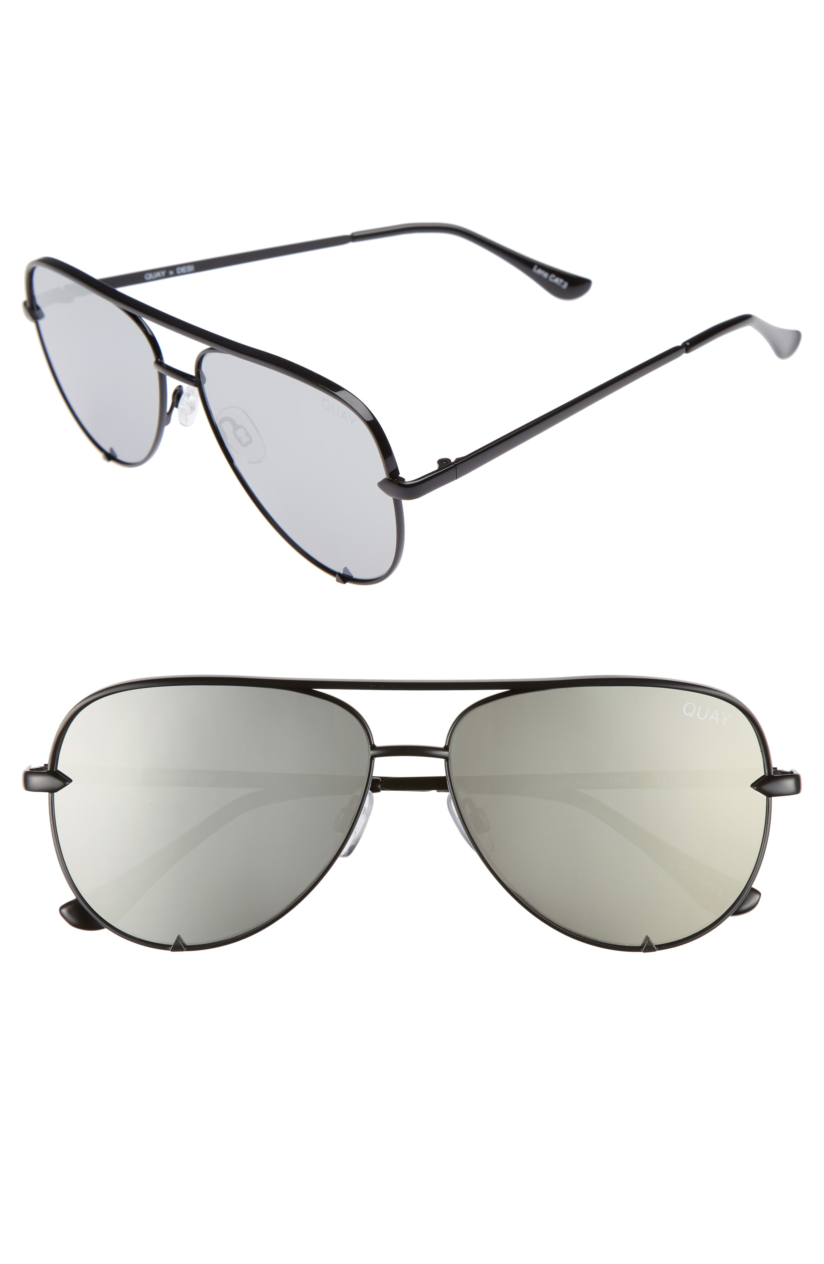 55feacc7047b5 Quay X Desi Perkins High Key Mini 57Mm Aviator Sunglasses - Black  Silver