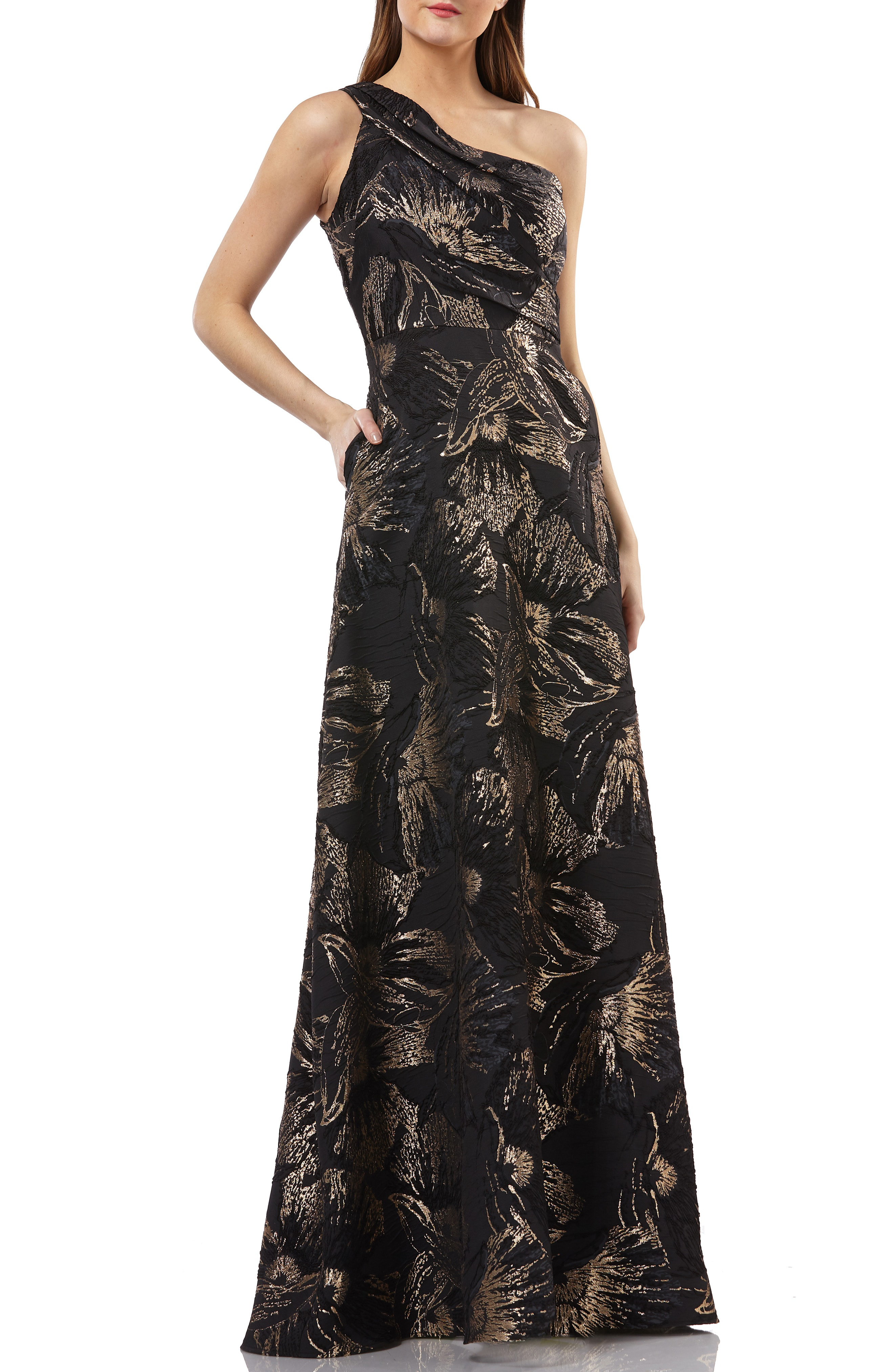 4253ce4e517636 Carmen Marc Valvo Infusion One-Shoulder Pleated Brocade Ballgown In Black/  Gold