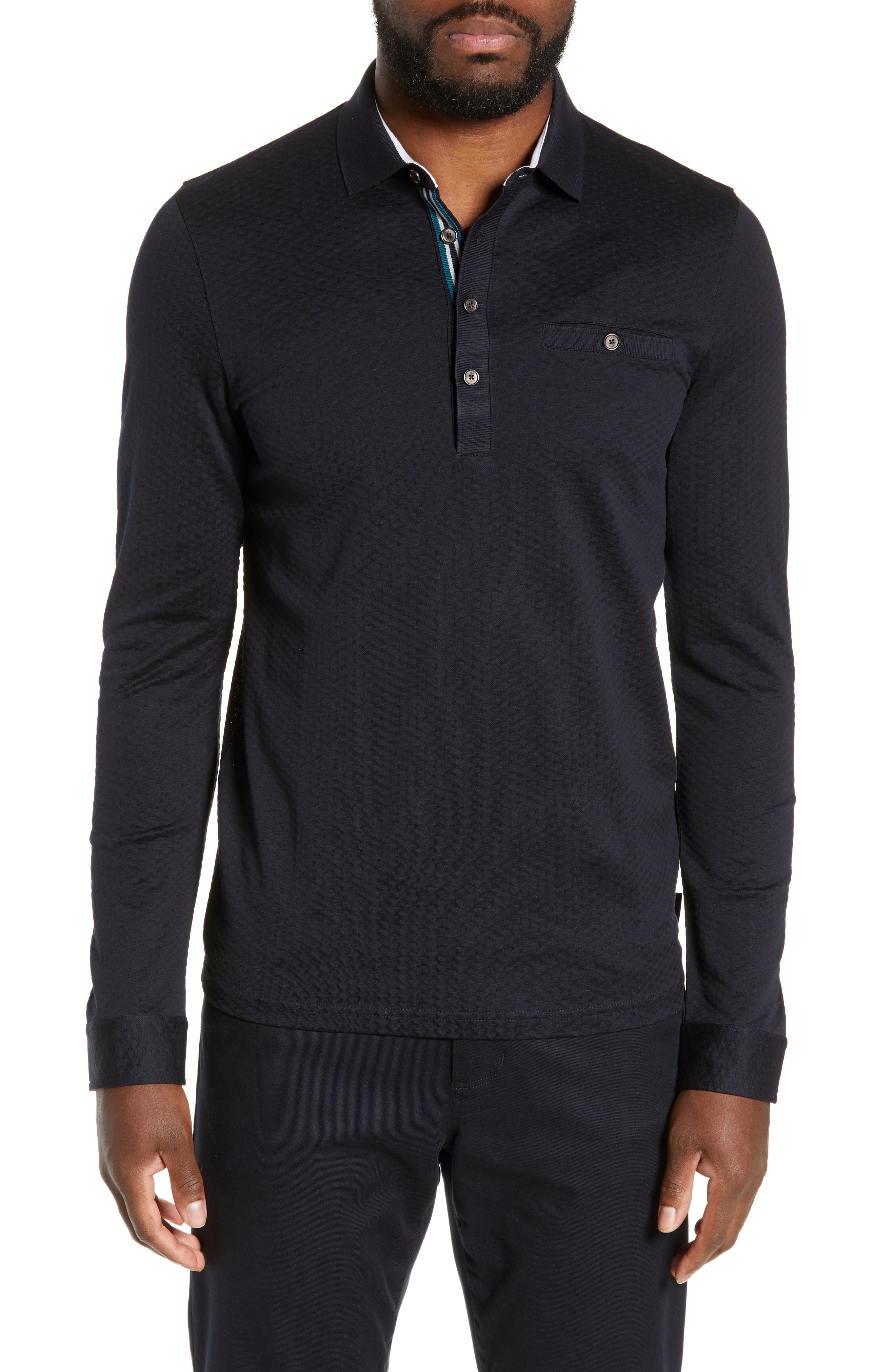 0cdd0735e Ted Baker Fruitpa Slim Fit Long Sleeve Polo In Navy | ModeSens