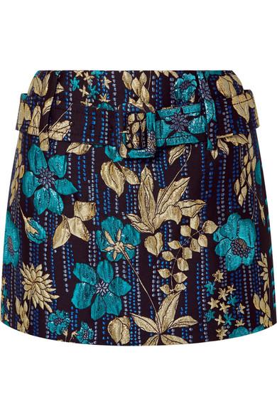Prada Belted Metallic Floral Brocade Mini Skirt In Blue