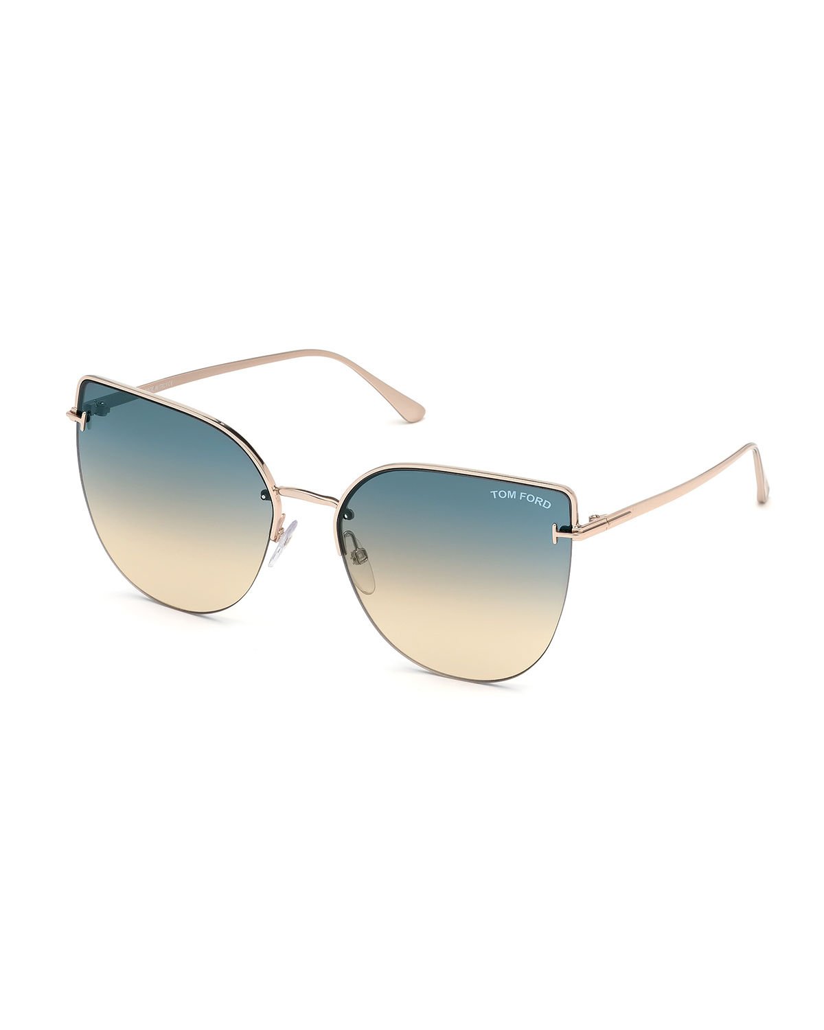 adc56d901e77 Tom Ford Ingrid 60Mm Cat Eye Sunglasses - Rose Gold  Turquoise To Sand