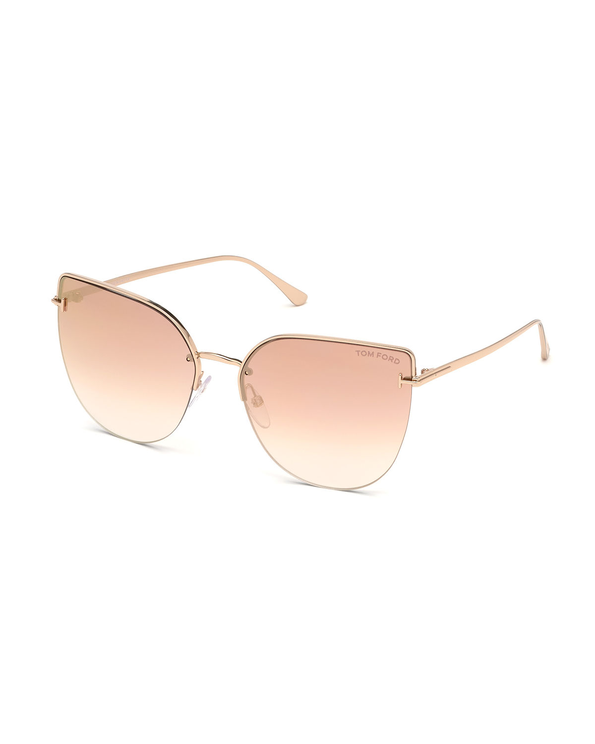 f931fa9c644d Tom Ford Ingrid 60Mm Cat Eye Sunglasses - Rose Gold  Pink W Red Mirror