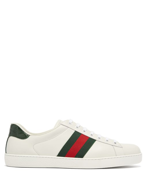 Gucci Low-Top Sneakers New Ace Sneaker  Calfskin Striped Green Red White In White Multi