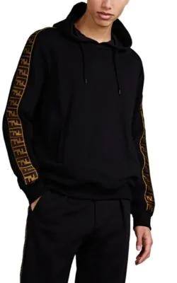 Fendi Logo-AppliquÉD Fleece-Back Cotton, Wool, Silk And Cashmere-Blend Jersey Hoodie In Black