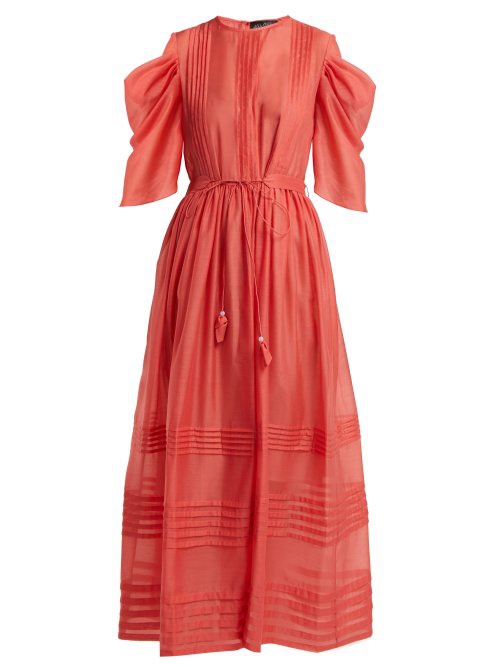 Anna October Pintuck Gathered-Sleeve Tie Waist Dress In Red