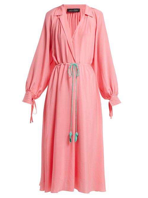Anna October Collared Bishop-sleeve Silk-blend Dress In Pink