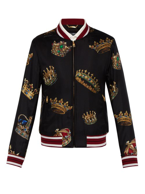f0a1fd13b3af Dolce & Gabbana Dolce And Gabbana Multicolor Crown Zip-Up Track Jacket In  Black