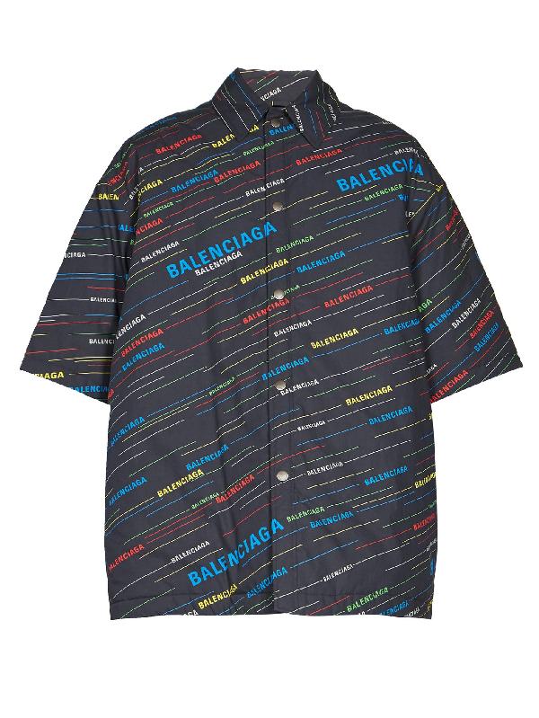 Balenciaga Oversized Padded Logo-print Cotton-poplin Shirt In Blue