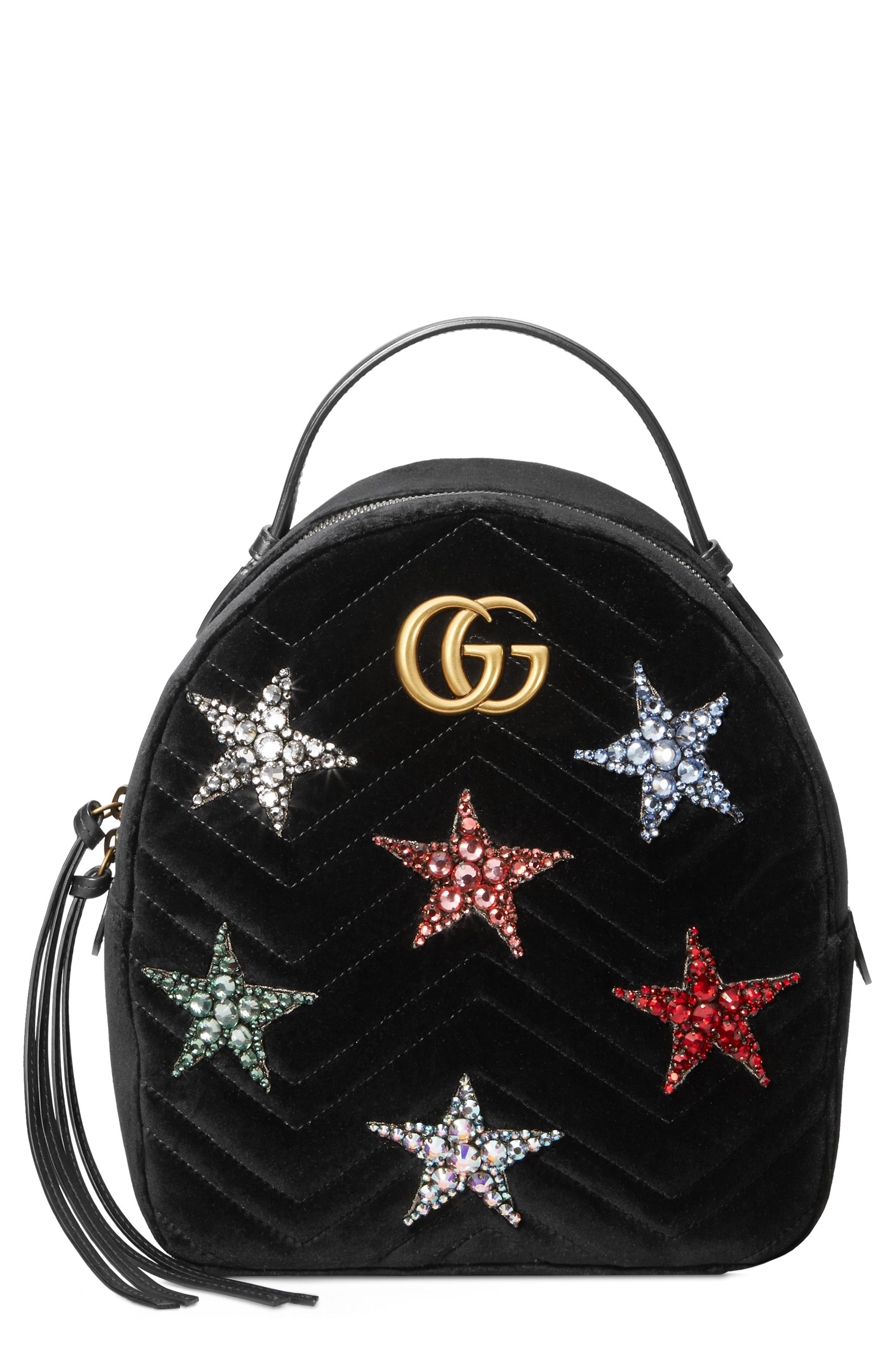 5267566a3ac9 Gucci Marmont 2.0 Crystal Stars Velvet Backpack - Black | ModeSens