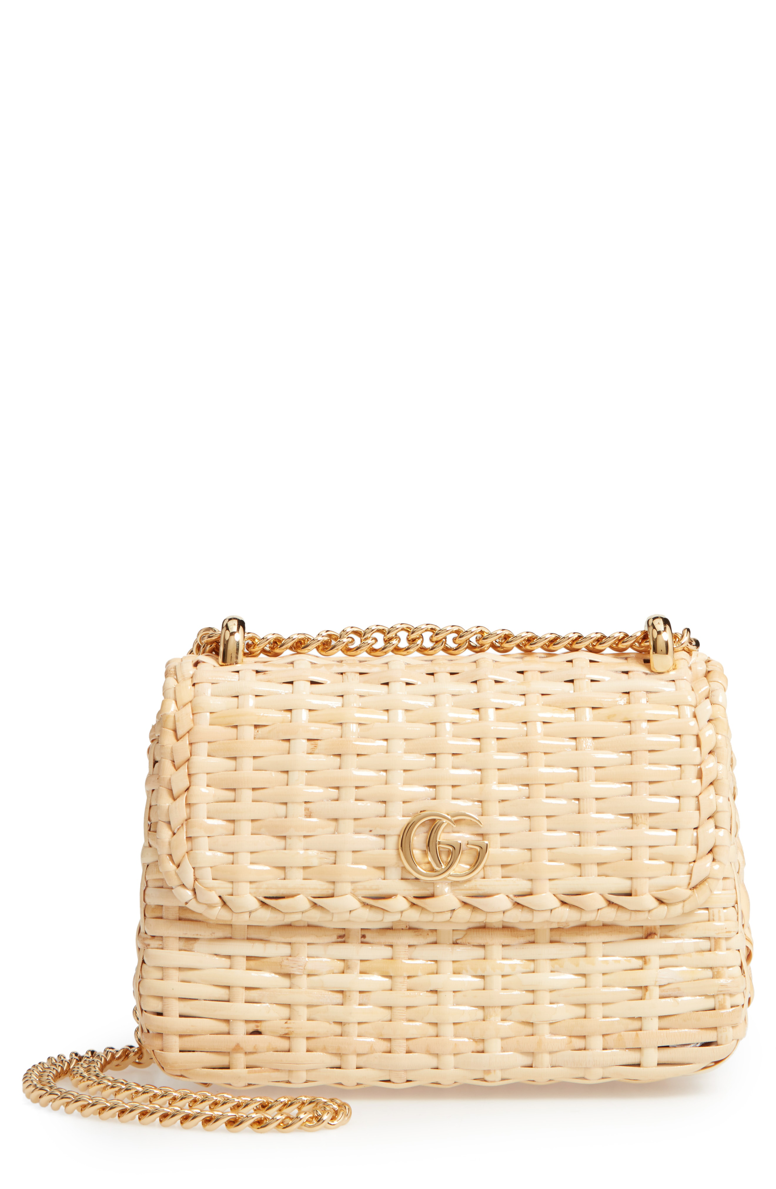 24c435894c354f Gucci Linea Cestino Mini Leather-Trimmed Wicker Shoulder Bag In Beige