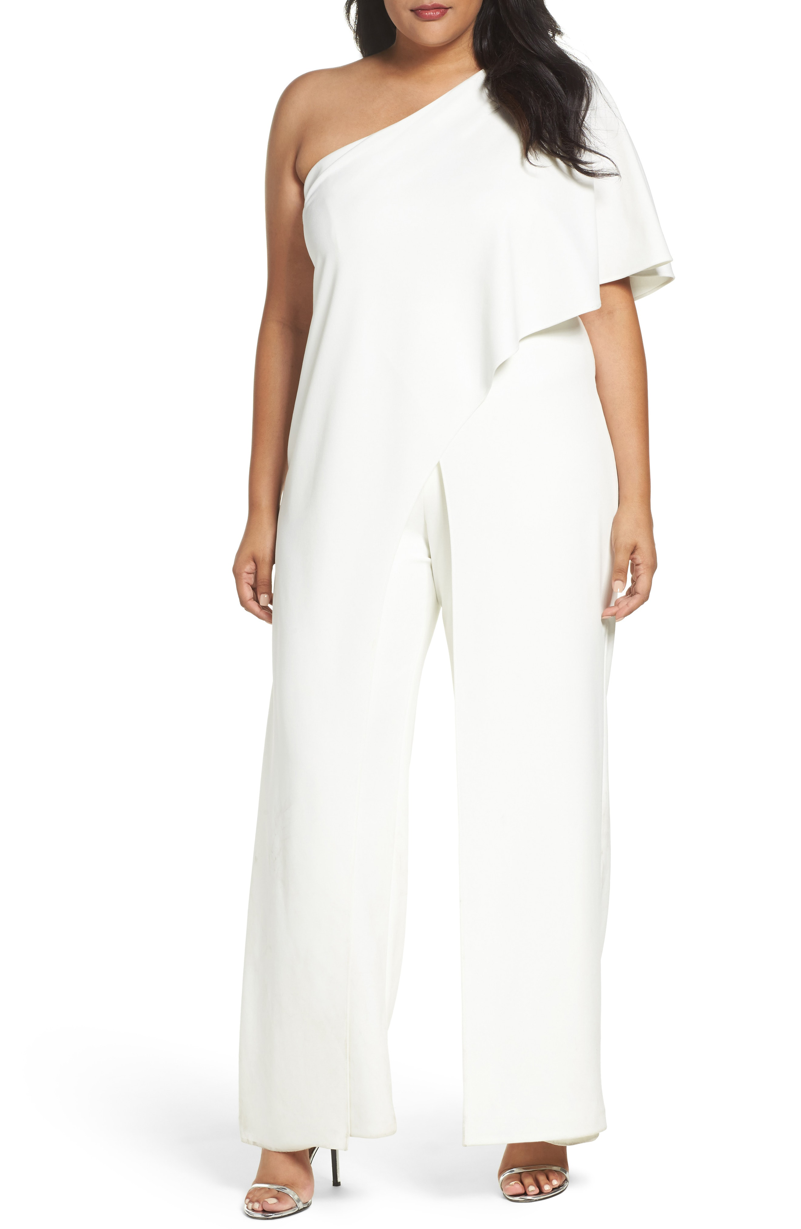 d0fad1e5310a Adrianna Papell Plus Size Draped One-Shoulder Jumpsuit In Ivory ...