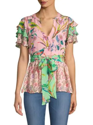 02331c99024219 Banjanan Jaya Contrast Floral   Avian Print Tie Short-Sleeve Silk Blouse In  Orchid Mughal