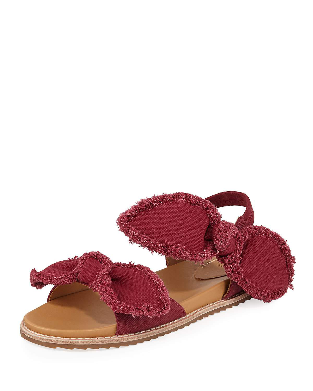 Bill Blass Camden Denim Fringe Flat Sandals, Raspberry In Rasberry