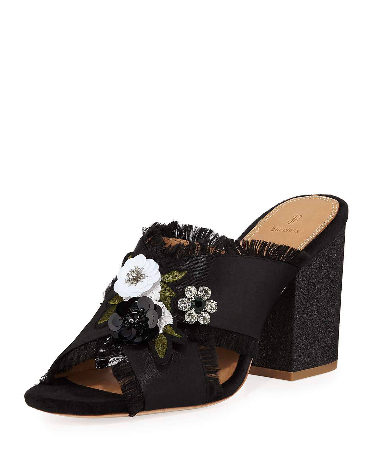 Bill Blass Carol Satin Embellished Mules, Black