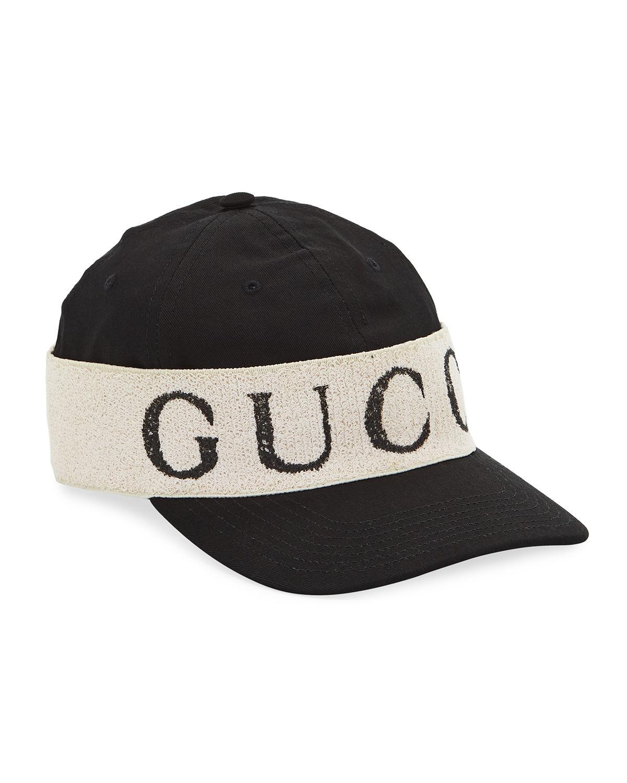 4b51947a718 Gucci Logo Band Cotton Gabardine Baseball Hat In Black